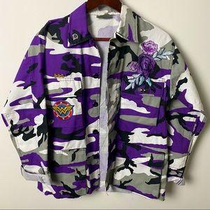 DC Comics Superhero Purple Camo Jacket